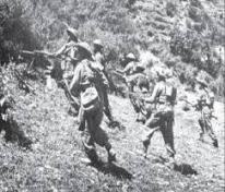 Troops marching into Battle of Badgam