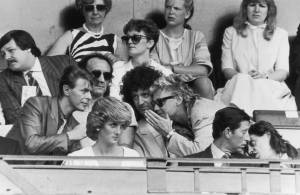 David Bowie, Chris Taylor, Brian May, Roger Taylor, Princess Diana, Prince Charles and Bob Geldof at Live Aid, Wembley Stadium-1985